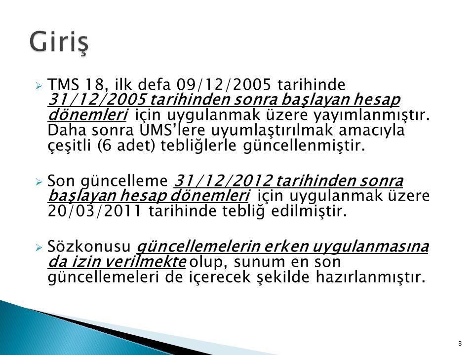  TMS 18, ilk defa 09/12/2005 tarihinde 31/12/2005 tarihinden sonra başlayan hesap dönemleri için uygulanmak üzere yayımlanmıştır.