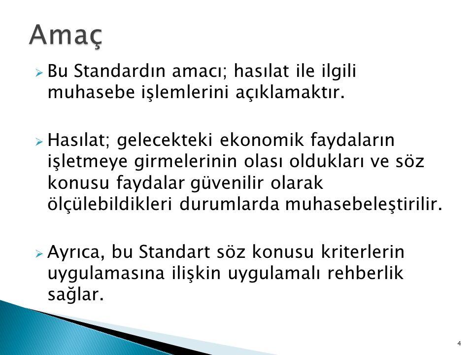  Bu Standardın amacı; hasılat ile ilgili muhasebe işlemlerini açıklamaktır.