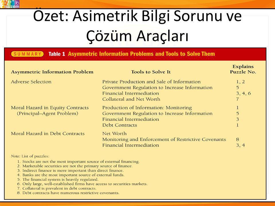 Özet: Asimetrik Bilgi Sorunu ve Çözüm Araçları 13