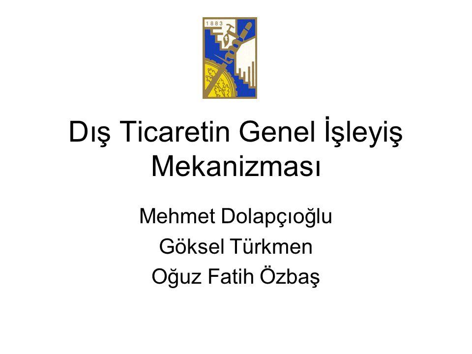 Dış Ticaretin Genel İşleyiş Mekanizması Mehmet Dolapçıoğlu Göksel Türkmen Oğuz Fatih Özbaş