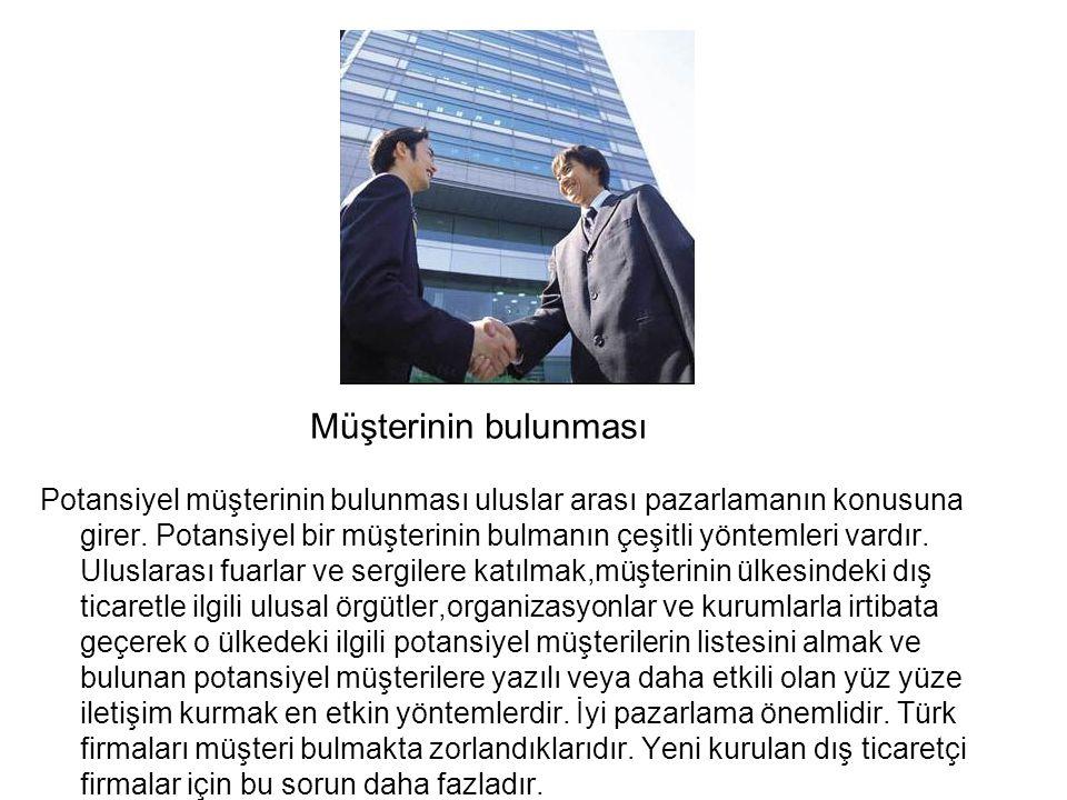 Müşterinin bulunması Potansiyel müşterinin bulunması uluslar arası pazarlamanın konusuna girer.