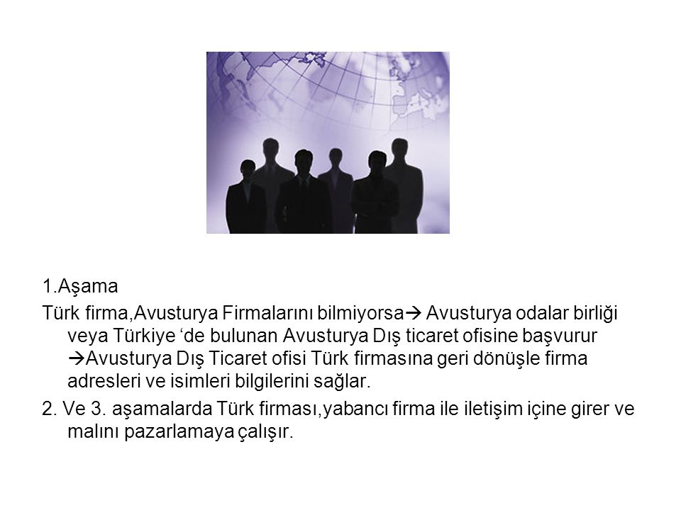 1.Aşama Türk firma,Avusturya Firmalarını bilmiyorsa  Avusturya odalar birliği veya Türkiye 'de bulunan Avusturya Dış ticaret ofisine başvurur  Avusturya Dış Ticaret ofisi Türk firmasına geri dönüşle firma adresleri ve isimleri bilgilerini sağlar.