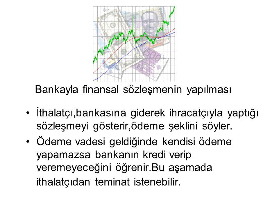Bankayla finansal sözleşmenin yapılması •İthalatçı,bankasına giderek ihracatçıyla yaptığı sözleşmeyi gösterir,ödeme şeklini söyler. •Ödeme vadesi geld