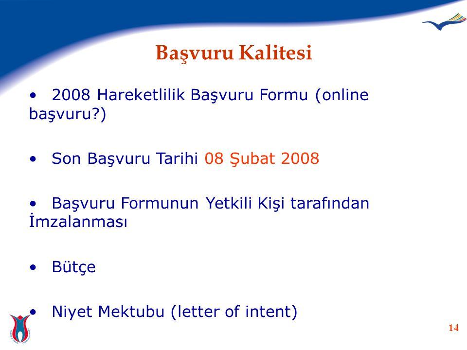 14 Başvuru Kalitesi •2008 Hareketlilik Başvuru Formu (online başvuru?) •Son Başvuru Tarihi 08 Şubat 2008 •Başvuru Formunun Yetkili Kişi tarafından İmz