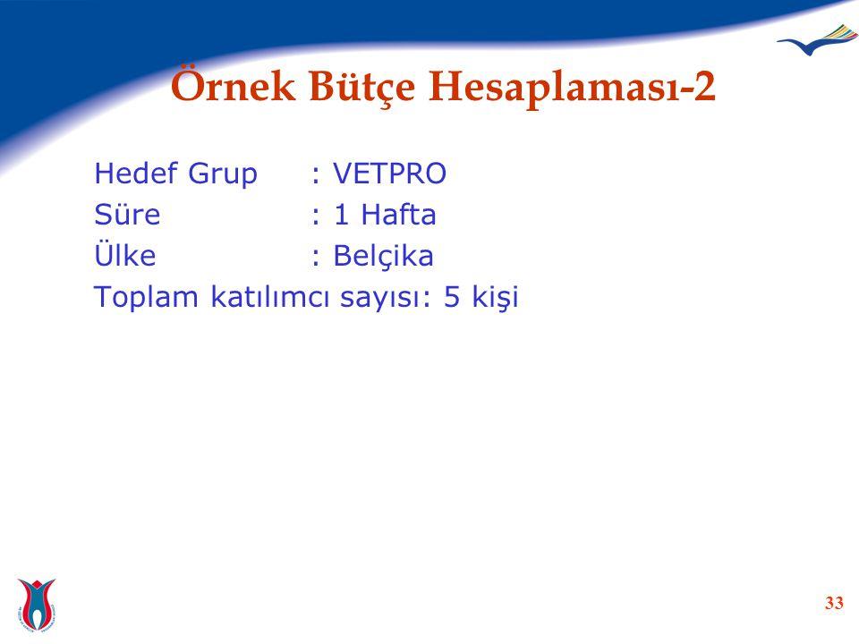 33 Örnek Bütçe Hesaplaması-2 Hedef Grup: VETPRO Süre: 1 Hafta Ülke: Belçika Toplam katılımcı sayısı: 5 kişi