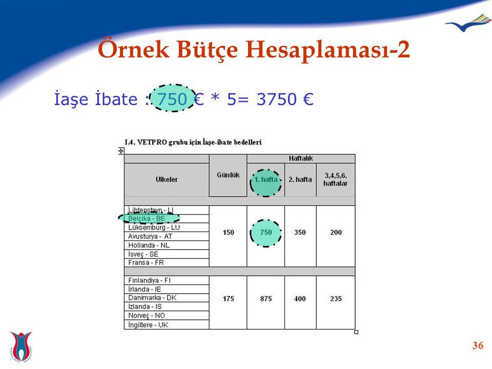 36 Örnek Bütçe Hesaplaması-2 İaşe İbate : 750 € * 5= 3750 €