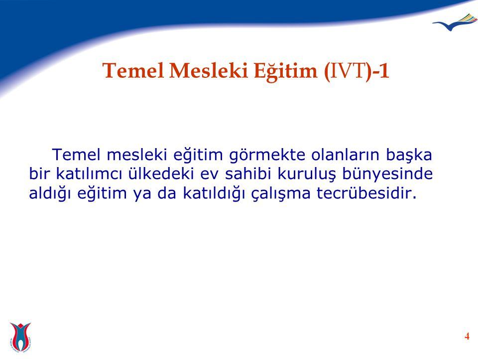 4 Temel Mesleki Eğitim ( IVT )-1 Temel mesleki eğitim görmekte olanların başka bir katılımcı ülkedeki ev sahibi kuruluş bünyesinde aldığı eğitim ya da