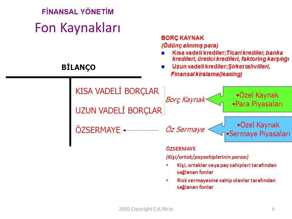 FİNANSAL YÖNETİM Fon Kaynakları ÖZSERMAYE (Kişi/ortak/paysahiplerinin parası) • Kişi, ortaklar veya pay sahipleri tarafından sağlanan fonlar • Risk se