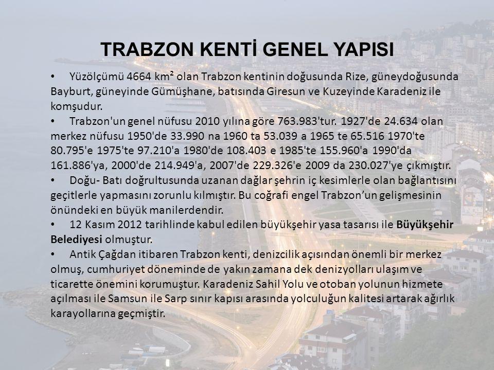 TRABZON KENTİ GENEL YAPISI • Yüzölçümü 4664 km² olan Trabzon kentinin doğusunda Rize, güneydoğusunda Bayburt, güneyinde Gümüşhane, batısında Giresun v