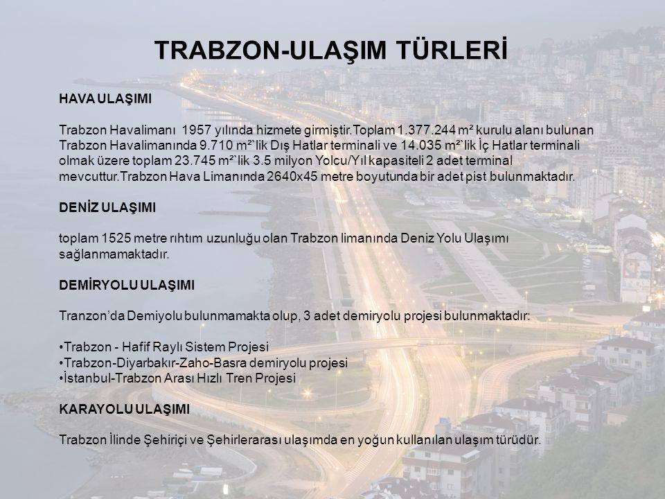 TRABZON-ULAŞIM TÜRLERİ HAVA ULAŞIMI Trabzon Havalimanı 1957 yılında hizmete girmiştir.Toplam 1.377.244 m² kurulu alanı bulunan Trabzon Havalimanında 9