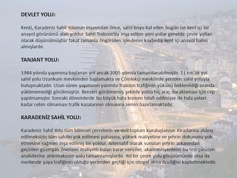 DEVLET YOLU: Kenti, Karadeniz Sahil Yolunun inşasından önce, sahil boyu kat eden bugün ise kent içi bir anayol görünümü alan yoldur. Sahil Trabzon'da