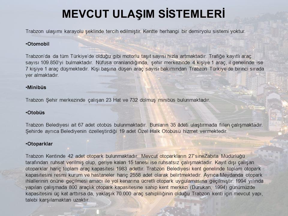MEVCUT ULAŞIM SİSTEMLERİ Trabzon ulaşımı karayolu şeklinde tercih edilmiştir. Kentte herhangi bir demiryolu sistemi yoktur. •Otomobil Trabzon'da da tü