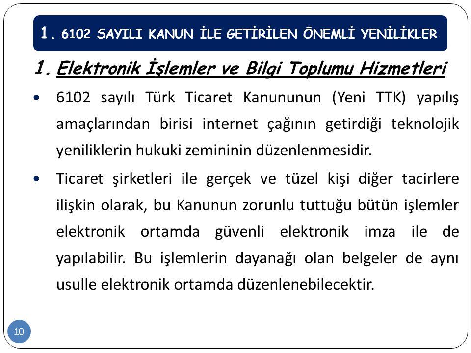 1. 6102 SAYILI KANUN İLE GETİRİLEN ÖNEMLİ YENİLİKLER 1. Elektronik İşlemler ve Bilgi Toplumu Hizmetleri  6102 sayılı Türk Ticaret Kanununun (Yeni TTK