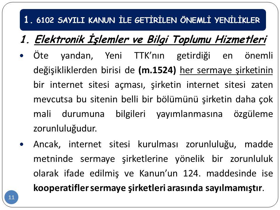 1. Elektronik İşlemler ve Bilgi Toplumu Hizmetleri  Öte yandan, Yeni TTK'nın getirdiği en önemli değişikliklerden birisi de (m.1524) her sermaye şirk