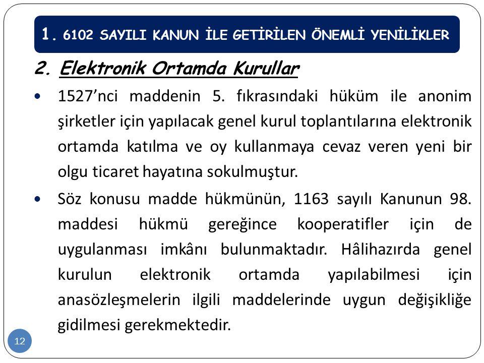 2. Elektronik Ortamda Kurullar  1527'nci maddenin 5. fıkrasındaki hüküm ile anonim şirketler için yapılacak genel kurul toplantılarına elektronik ort