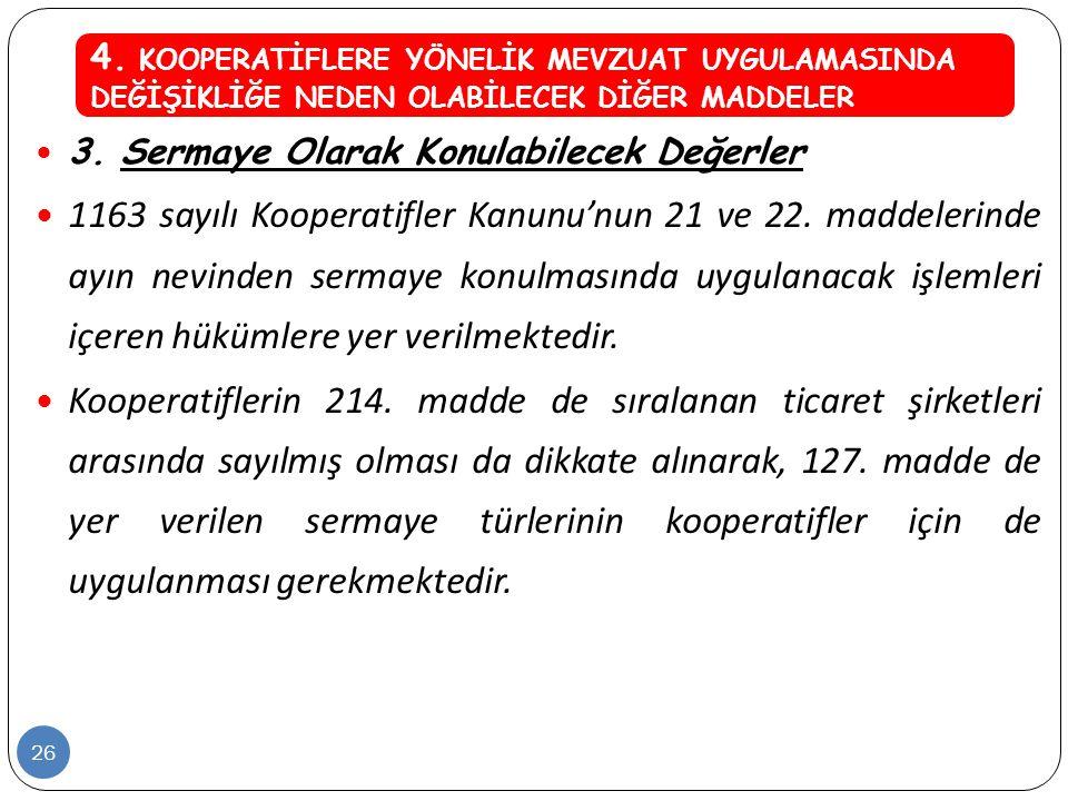  3. Sermaye Olarak Konulabilecek Değerler  1163 sayılı Kooperatifler Kanunu'nun 21 ve 22. maddelerinde ayın nevinden sermaye konulmasında uygulanaca