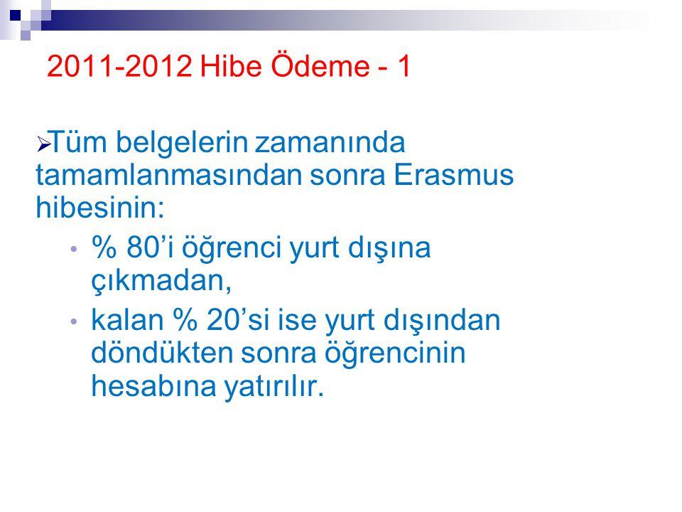 2011-2012 Hibe Ödeme - 1  Tüm belgelerin zamanında tamamlanmasından sonra Erasmus hibesinin: • % 80'i öğrenci yurt dışına çıkmadan, • kalan % 20'si i
