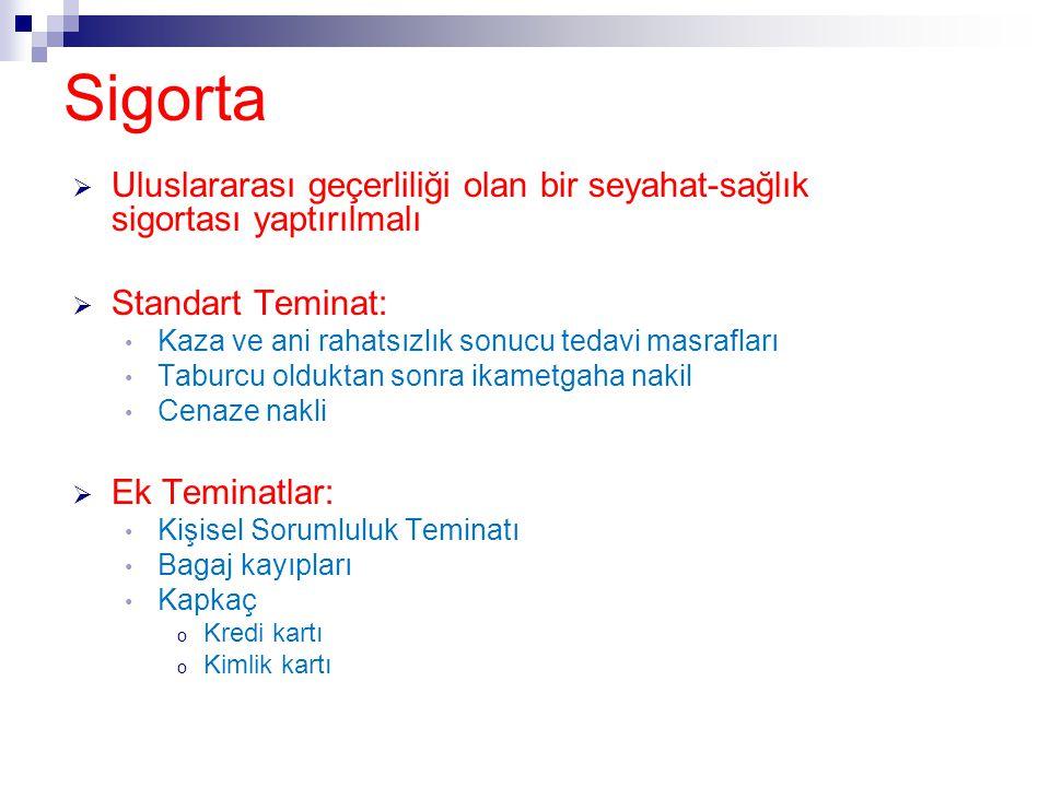 Sigorta  Uluslararası geçerliliği olan bir seyahat-sağlık sigortası yaptırılmalı  Standart Teminat: • Kaza ve ani rahatsızlık sonucu tedavi masrafla