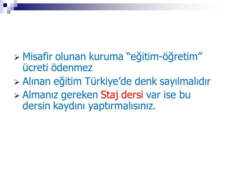 """ Misafir olunan kuruma """"eğitim-öğretim"""" ücreti ödenmez  Alınan eğitim Türkiye'de denk sayılmalıdır  Almanız gereken Staj dersi var ise bu dersin ka"""