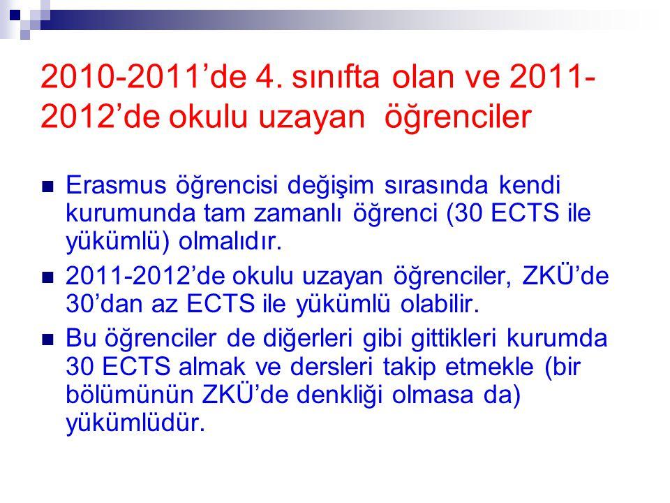 Erasmus öğrencisi değişim sırasında kendi kurumunda tam zamanlı öğrenci (30 ECTS ile yükümlü) olmalıdır.  2011-2012'de okulu uzayan öğrenciler, ZKÜ