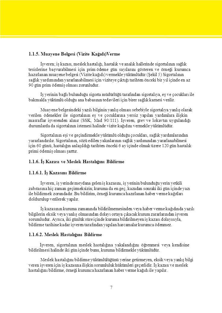 7 1.1.5. Muayene Belgesi (Vizite Kağıdı)Verme İşveren; iş kazası, meslek hastalığı, hastalık ve analık hallerinde sigortalının sağlık tesislerine başv
