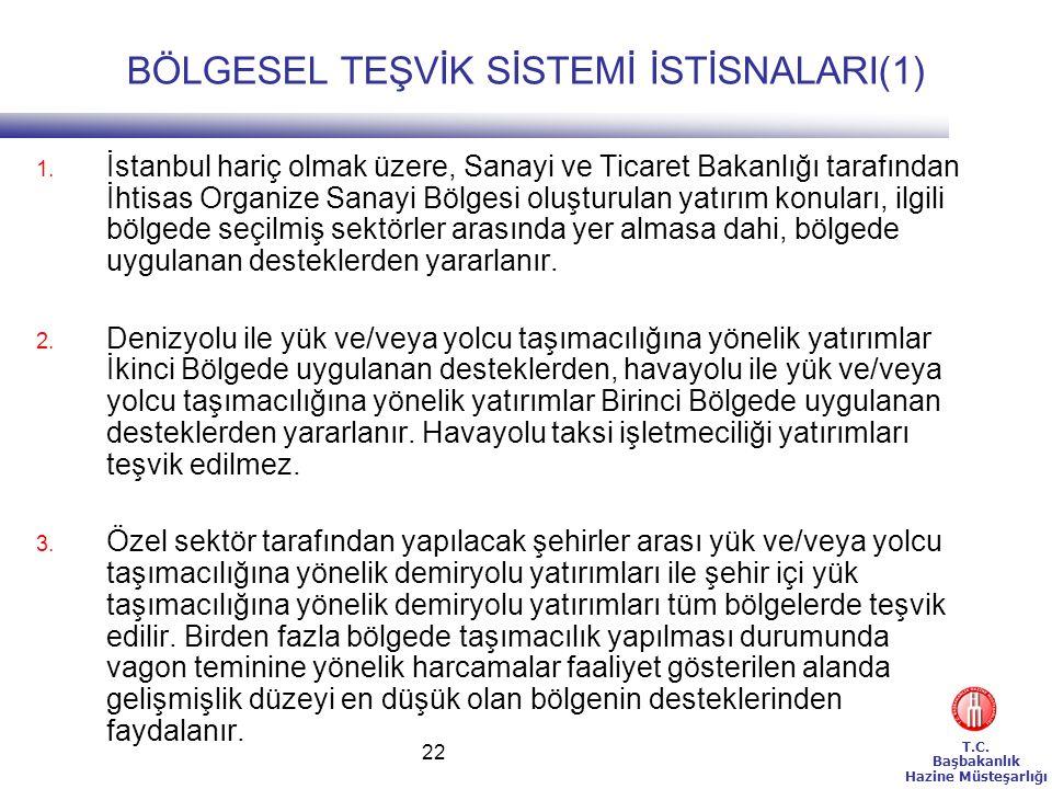 T.C. Başbakanlık Hazine Müsteşarlığı 22 BÖLGESEL TEŞVİK SİSTEMİ İSTİSNALARI(1) 1. İstanbul hariç olmak üzere, Sanayi ve Ticaret Bakanlığı tarafından İ