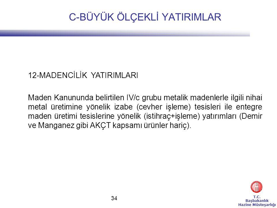 T.C. Başbakanlık Hazine Müsteşarlığı 34 12-MADENCİLİK YATIRIMLARI Maden Kanununda belirtilen IV/c grubu metalik madenlerle ilgili nihai metal üretimin