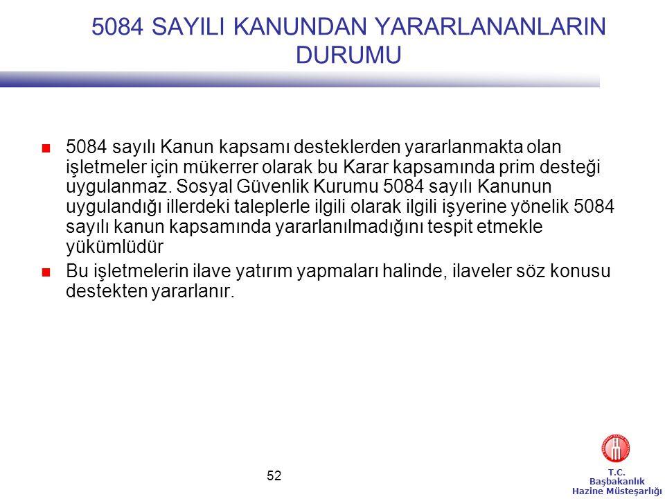 T.C. Başbakanlık Hazine Müsteşarlığı 52 5084 SAYILI KANUNDAN YARARLANANLARIN DURUMU  5084 sayılı Kanun kapsamı desteklerden yararlanmakta olan işletm