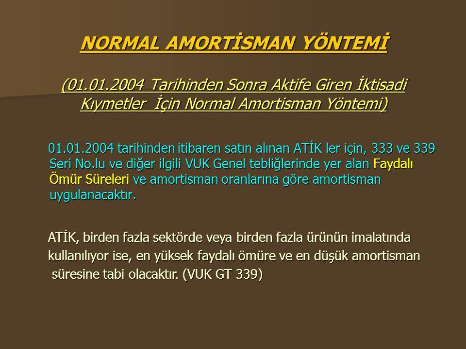 NORMAL AMORTİSMAN YÖNTEMİ (01.01.2004 Tarihinden Sonra Aktife Giren İktisadi Kıymetler İçin Normal Amortisman Yöntemi) 01.01.2004 tarihinden itibaren