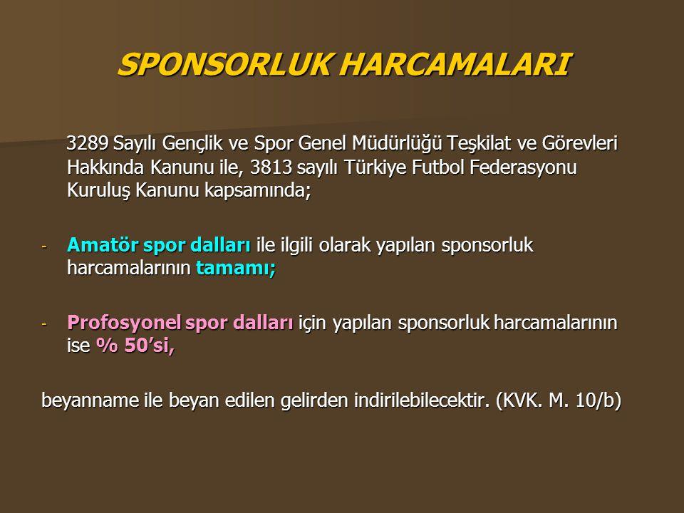 SPONSORLUK HARCAMALARI 3289 Sayılı Gençlik ve Spor Genel Müdürlüğü Teşkilat ve Görevleri Hakkında Kanunu ile, 3813 sayılı Türkiye Futbol Federasyonu K