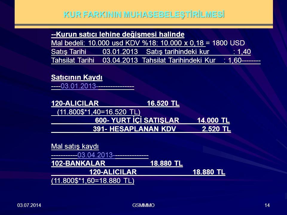03.07.2014GSMMMO14 --Kurun satıcı lehine değişmesi halinde Mal bedeli: 10.000 usd KDV %18: 10.000 x 0,18 = 1800 USD Satış Tarihi 03.01.2013 Satış tari
