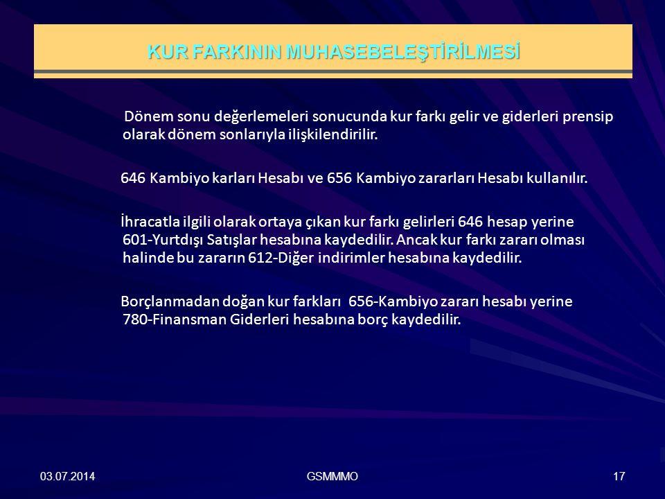 03.07.2014GSMMMO17 Dönem sonu değerlemeleri sonucunda kur farkı gelir ve giderleri prensip olarak dönem sonlarıyla ilişkilendirilir. 646 Kambiyo karla