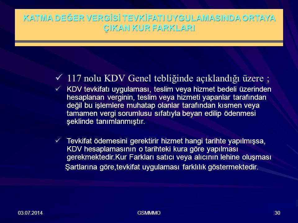 KATMA DEĞER VERGİSİ TEVKİFATI UYGULAMASINDA ORTAYA ÇIKAN KUR FARKLARI 03.07.2014GSMMMO30  117 nolu KDV Genel tebliğinde açıklandığı üzere ;  KDV tev