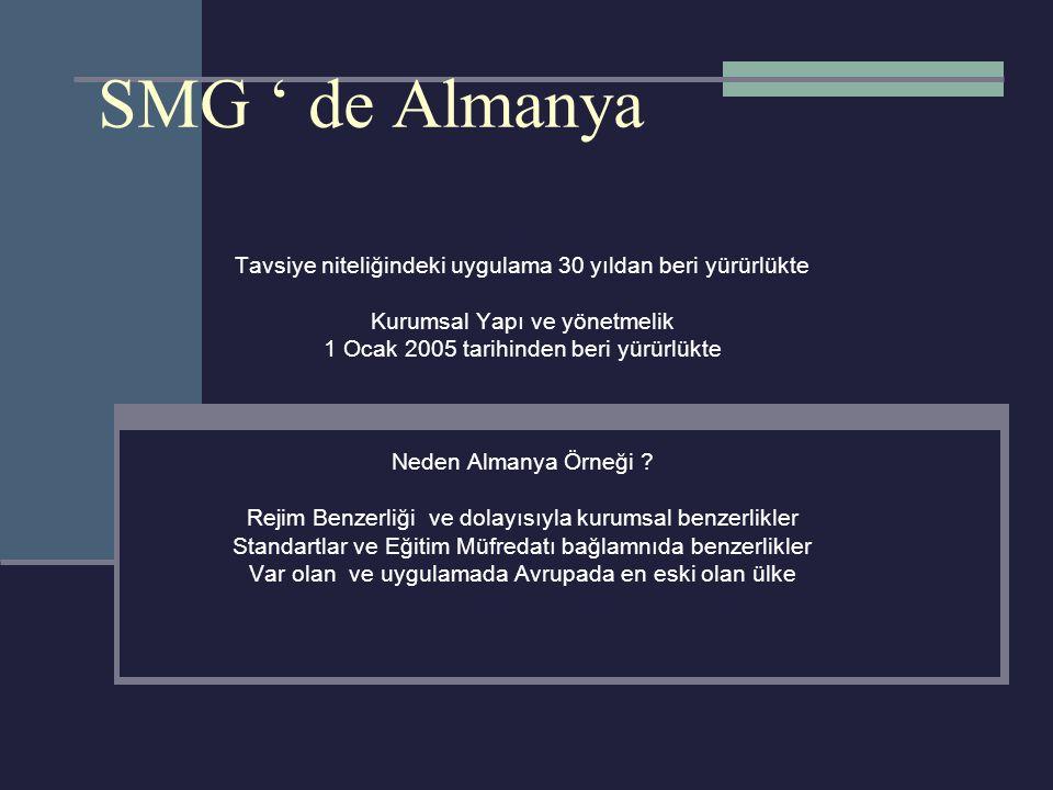 SMG ' de Almanya Tavsiye niteliğindeki uygulama 30 yıldan beri yürürlükte Kurumsal Yapı ve yönetmelik 1 Ocak 2005 tarihinden beri yürürlükte Neden Almanya Örneği .