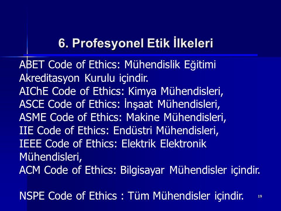 19 6. Profesyonel Etik İlkeleri ABET Code of Ethics: Mühendislik E ğ itimi Akreditasyon Kurulu içindir. AIChE Code of Ethics: Kimya Mühendisleri, ASCE