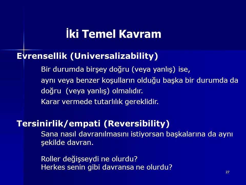27 Evrensellik (Universalizability) Bir durumda birşey doğru (veya yanlış) ise, aynı veya benzer koşulların olduğu başka bir durumda da doğru (veya ya