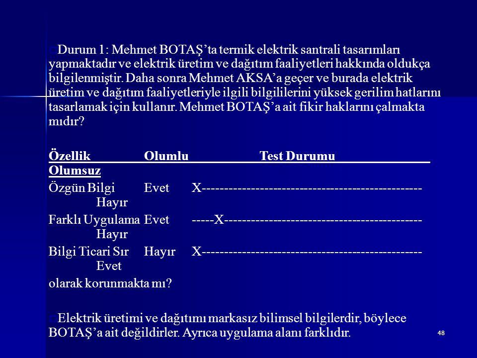 48  Durum 1: Mehmet BOTAŞ'ta termik elektrik santrali tasarımları yapmaktadır ve elektrik üretim ve dağıtım faaliyetleri hakkında oldukça bilgilenmiş
