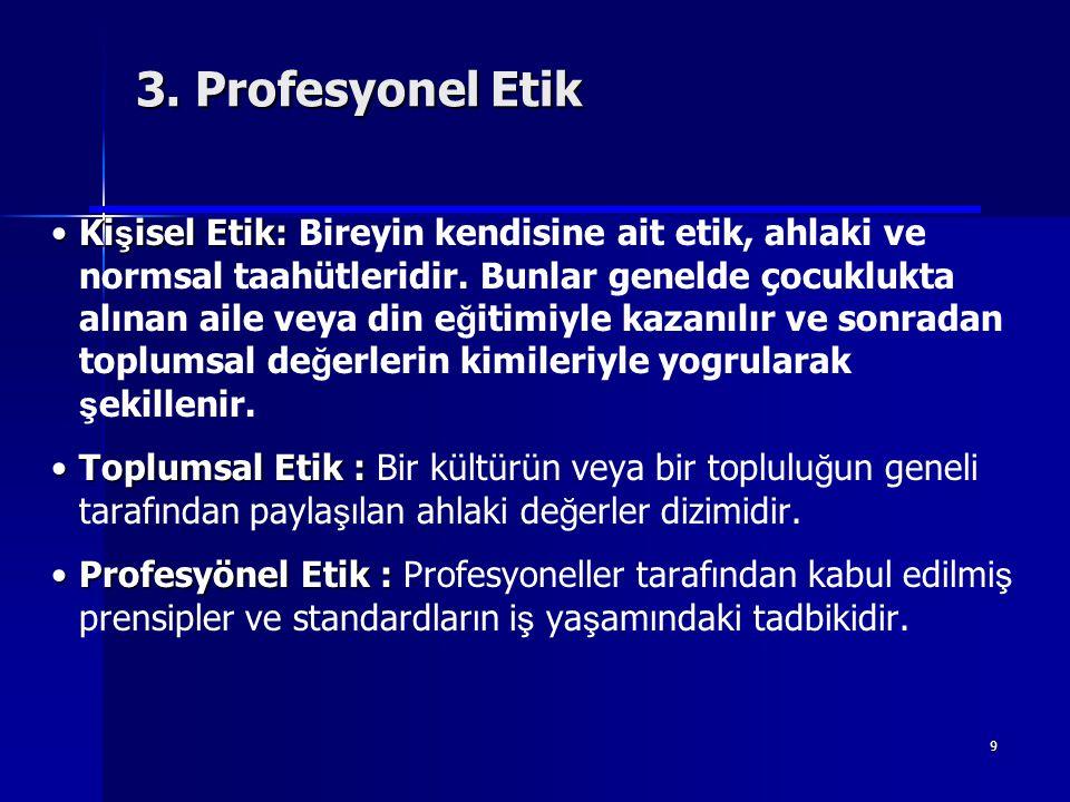 9 •Ki ş isel Etik: •Ki ş isel Etik: Bireyin kendisine ait etik, ahlaki ve normsal taahütleridir. Bunlar genelde çocuklukta alınan aile veya din e ğ it