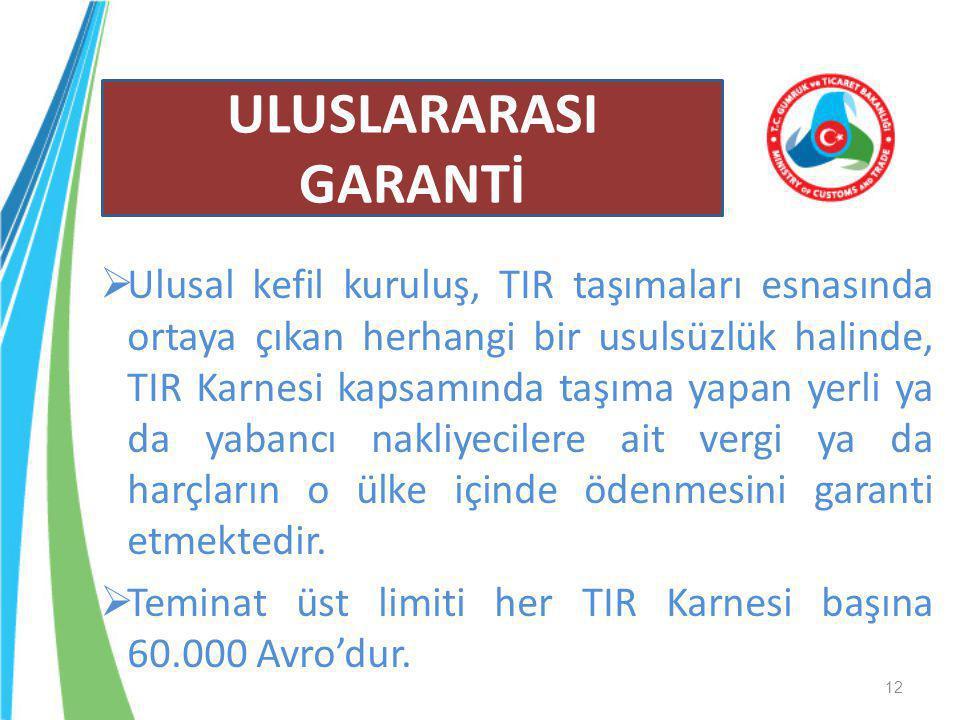  Ulusal kefil kuruluş, TIR taşımaları esnasında ortaya çıkan herhangi bir usulsüzlük halinde, TIR Karnesi kapsamında taşıma yapan yerli ya da yabancı