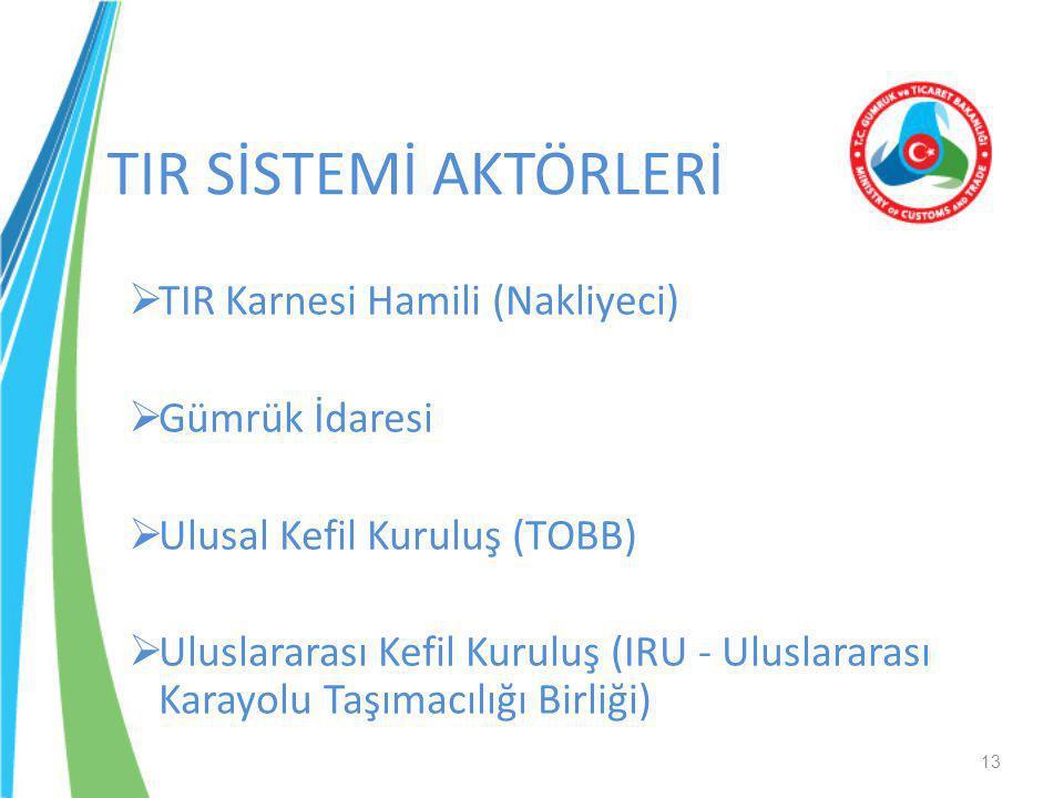 TIR SİSTEMİ AKTÖRLERİ  TIR Karnesi Hamili (Nakliyeci)  Gümrük İdaresi  Ulusal Kefil Kuruluş (TOBB)  Uluslararası Kefil Kuruluş (IRU - Uluslararası