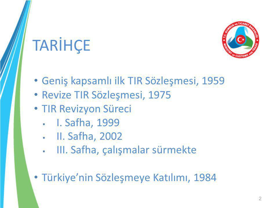 TARİHÇE 2 • Geniş kapsamlı ilk TIR Sözleşmesi, 1959 • Revize TIR Sözleşmesi, 1975 • TIR Revizyon Süreci  I. Safha, 1999  II. Safha, 2002  III. Safh