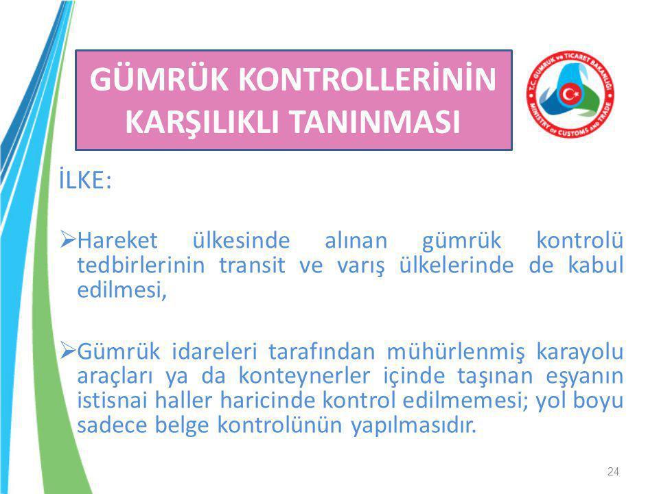 İLKE:  Hareket ülkesinde alınan gümrük kontrolü tedbirlerinin transit ve varış ülkelerinde de kabul edilmesi,  Gümrük idareleri tarafından mühürlenm