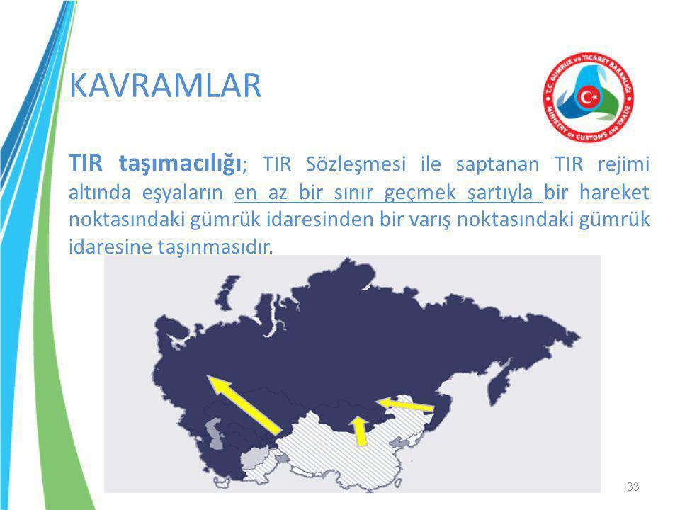 KAVRAMLAR TIR taşımacılığı ; TIR Sözleşmesi ile saptanan TIR rejimi altında eşyaların en az bir sınır geçmek şartıyla bir hareket noktasındaki gümrük
