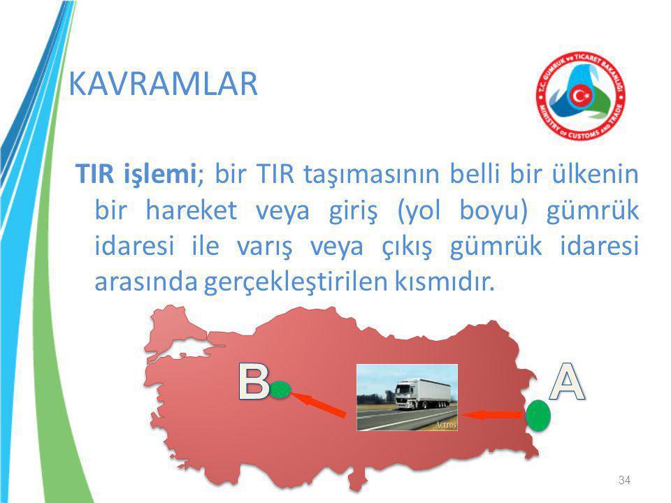 TIR işlemi; bir TIR taşımasının belli bir ülkenin bir hareket veya giriş (yol boyu) gümrük idaresi ile varış veya çıkış gümrük idaresi arasında gerçek