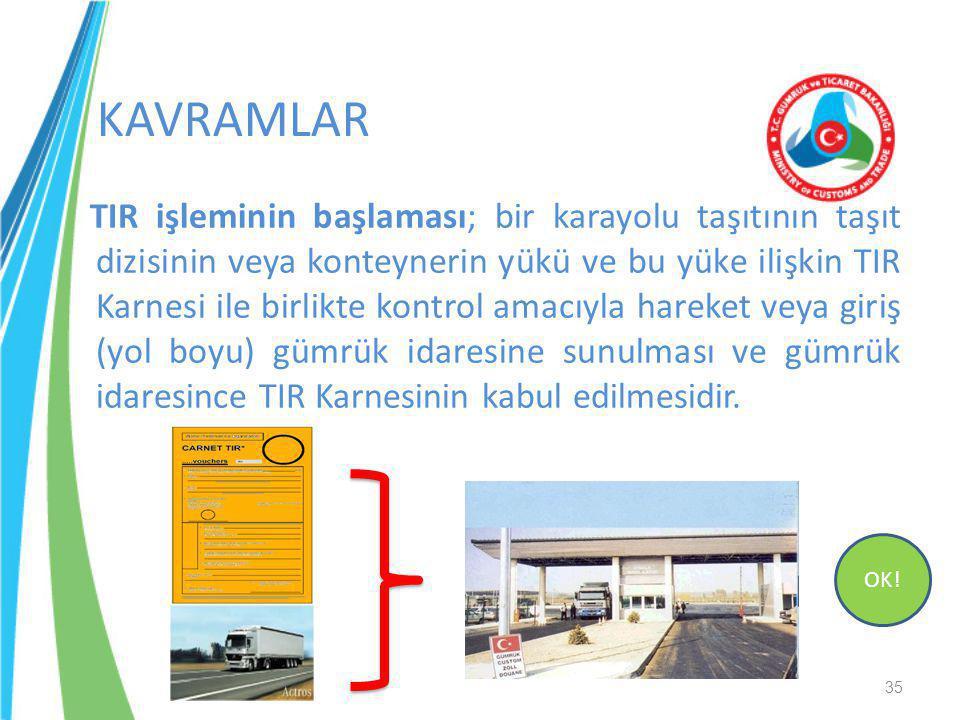 TIR işleminin başlaması; bir karayolu taşıtının taşıt dizisinin veya konteynerin yükü ve bu yüke ilişkin TIR Karnesi ile birlikte kontrol amacıyla har
