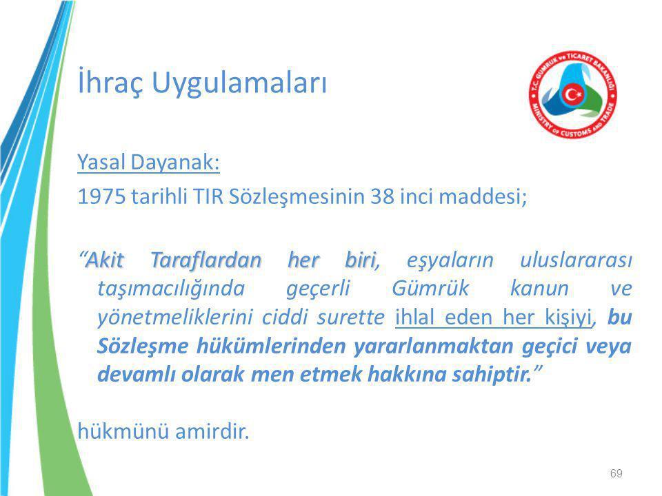 """Yasal Dayanak: 1975 tarihli TIR Sözleşmesinin 38 inci maddesi; Akit Taraflardan her biri """"Akit Taraflardan her biri, eşyaların uluslararası taşımacılı"""
