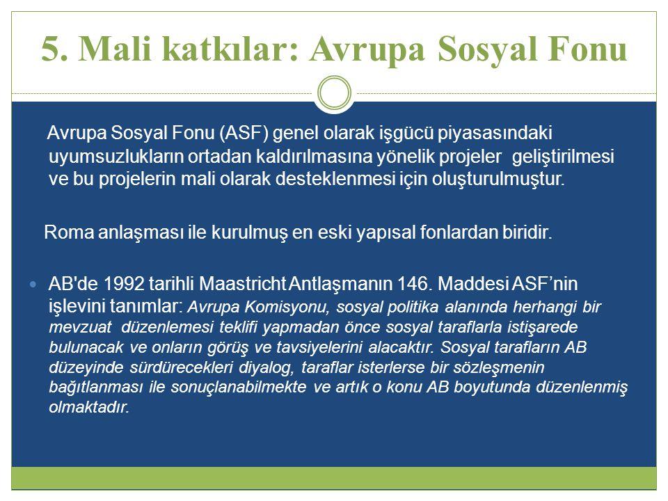 5. Mali katkılar: Avrupa Sosyal Fonu Avrupa Sosyal Fonu (ASF) genel olarak işgücü piyasasındaki uyumsuzlukların ortadan kaldırılmasına yönelik projele