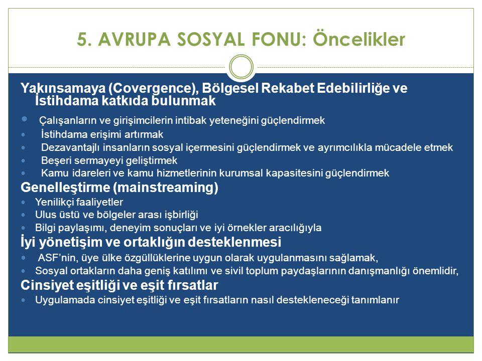 5. AVRUPA SOSYAL FONU: Öncelikler Yakınsamaya (Covergence), Bölgesel Rekabet Edebilirliğe ve İstihdama katkıda bulunmak  Çalışanların ve girişimciler