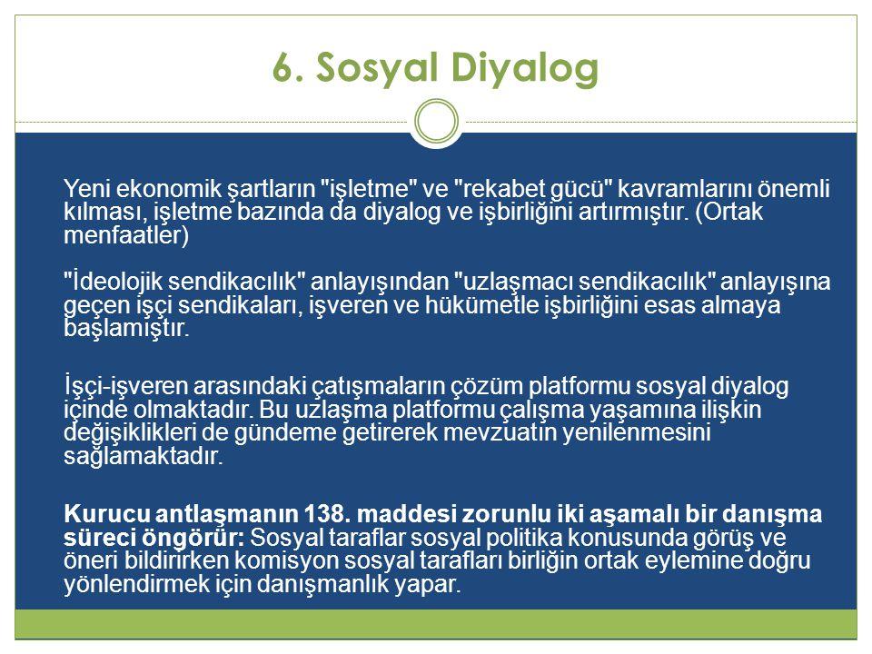 6. Sosyal Diyalog Yeni ekonomik şartların