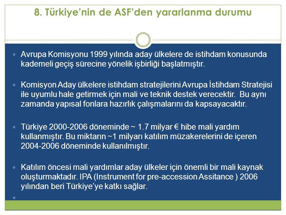 8. Türkiye'nin de ASF'den yararlanma durumu  Avrupa Komisyonu 1999 yılında aday ülkelere de istihdam konusunda kademeli geçiş sürecine yönelik işbirl